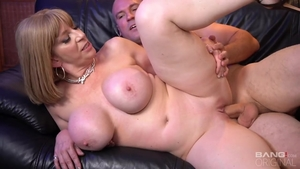 Mature Sara Jay rough sucking cock during interview