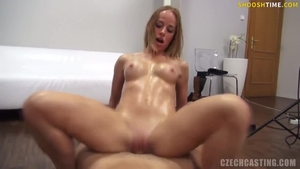 Blowjob at the castings next to blonde babe