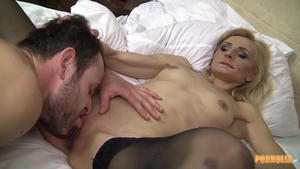 Very small tits MILF blowjob cum at the party