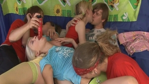 Skinny blonde orgy at the party