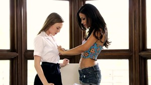 Aubrey Star and Layla Sin bends over in office