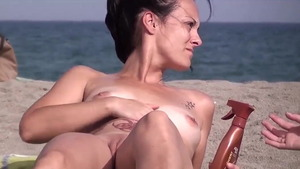 Tight naked stepmom voyeur pussy eating at the beach