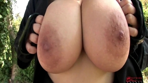 Large boobs & busty czech Shione Cooper teasing outdoors solo