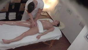 Big butt and young blonde hair massage